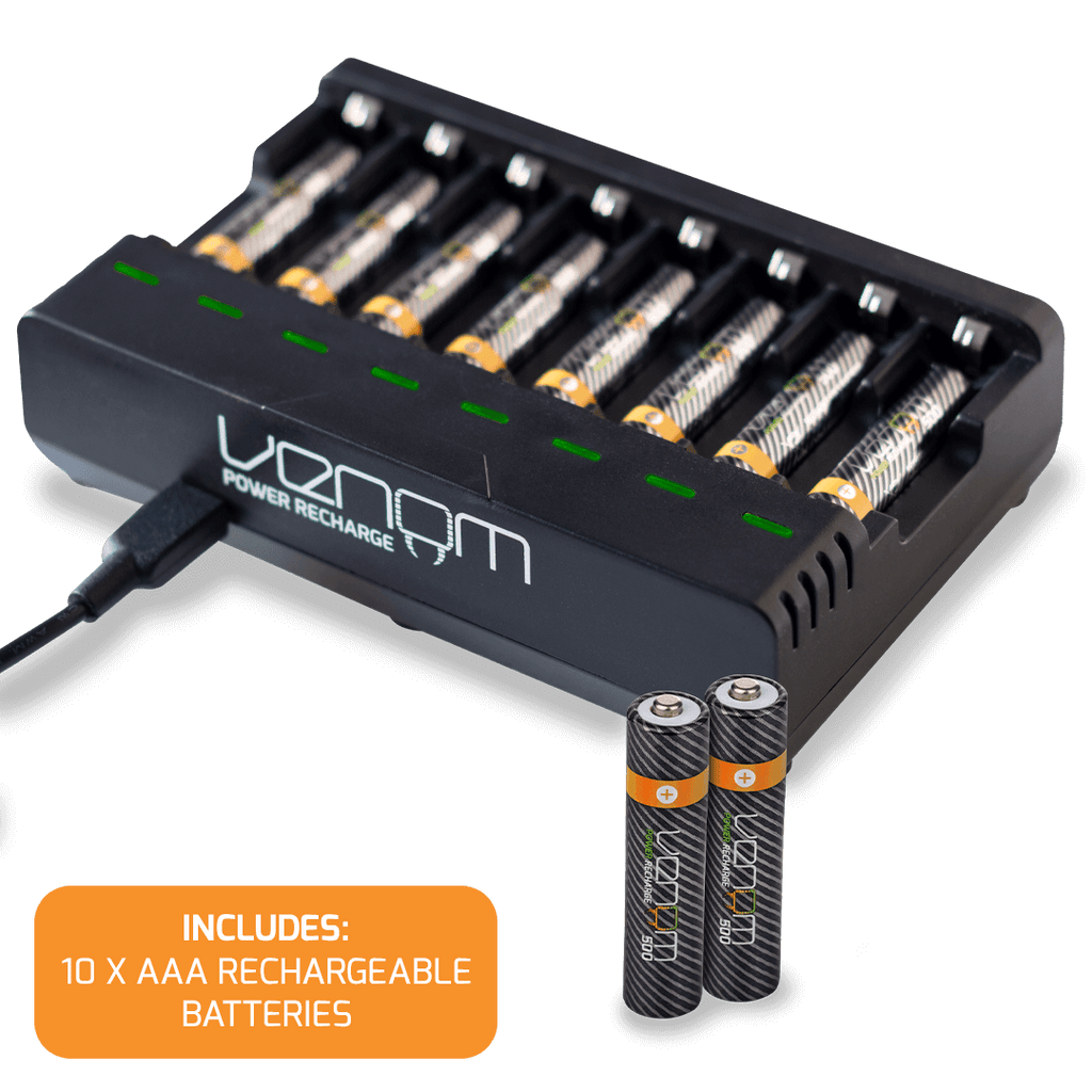 Rechargeable Battery 8-Capacity Charging Dock plus 10 x AAA 500mAh Rechargeable Batteries