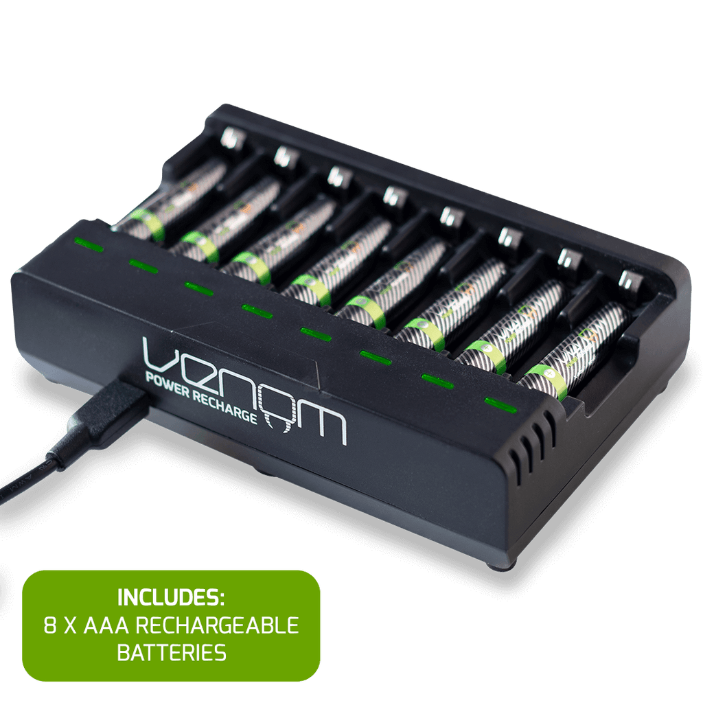 Rechargeable Battery 8-Capacity Charging Dock plus 8 x AAA 800mAh Rechargeable Batteries