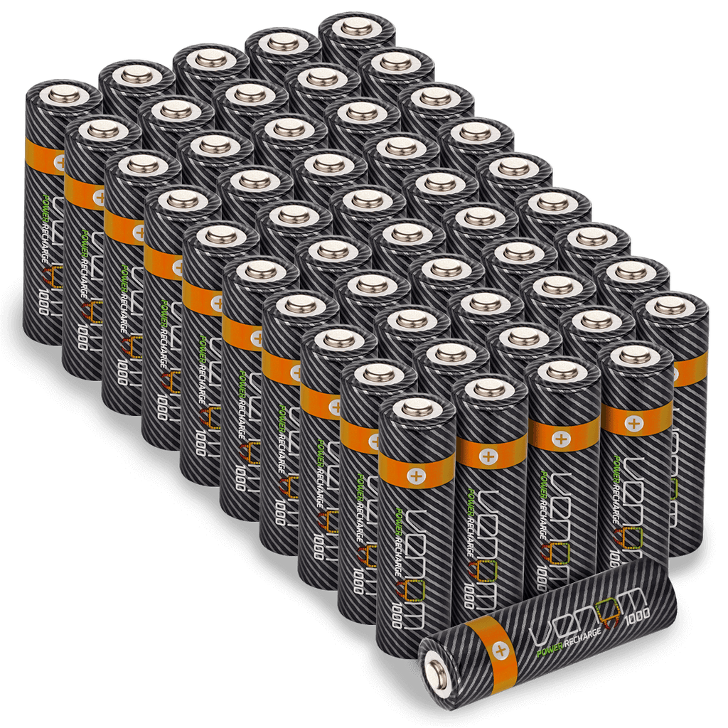 Venom Power Recharge - 1000mAh Rechargeable AA Batteries (50-Pack)