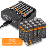 Venom Power Recharge - Charging Station plus 20 x AA 1000mAh Rechargeable Batteries