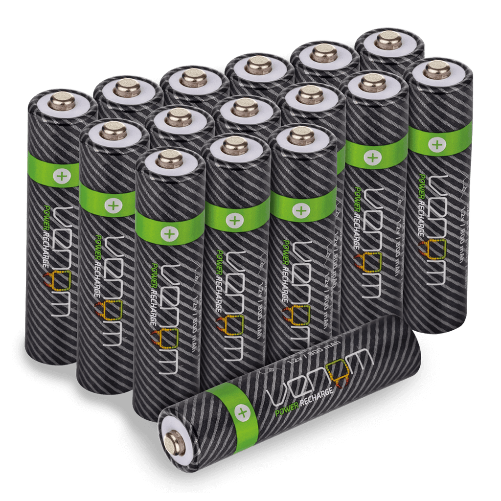 Venom Power Recharge - 800mAh NiMH Rechargeable AAA Batteries (Pack of 16)