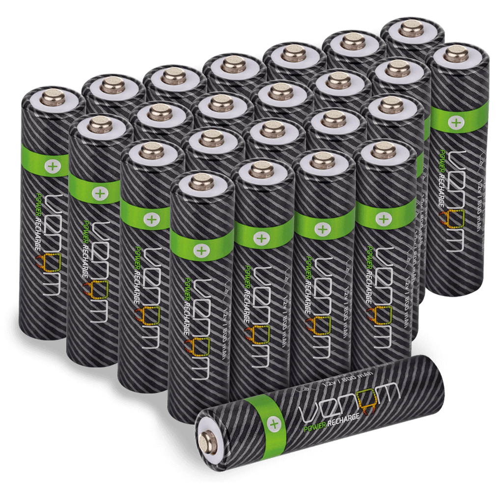 Venom Power Recharge - 800mAh NiMH Rechargeable AAA Batteries (Pack of 24)