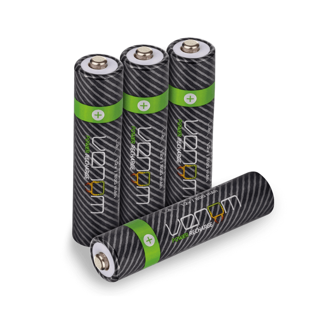 Venom Power Recharge - 800mAh NiMH Rechargeable AAA Batteries (Pack of 4)
