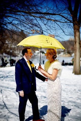 New York Irish wedding love umbrella