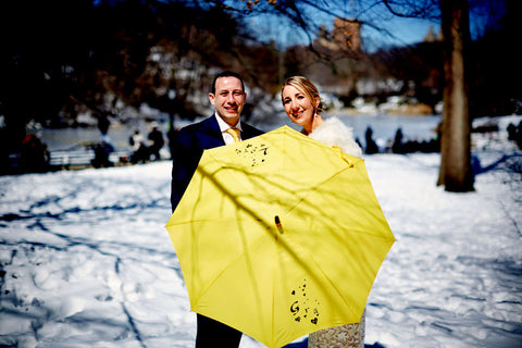 yellow Irish love umbrella wedding umbrella by Angelina Foster