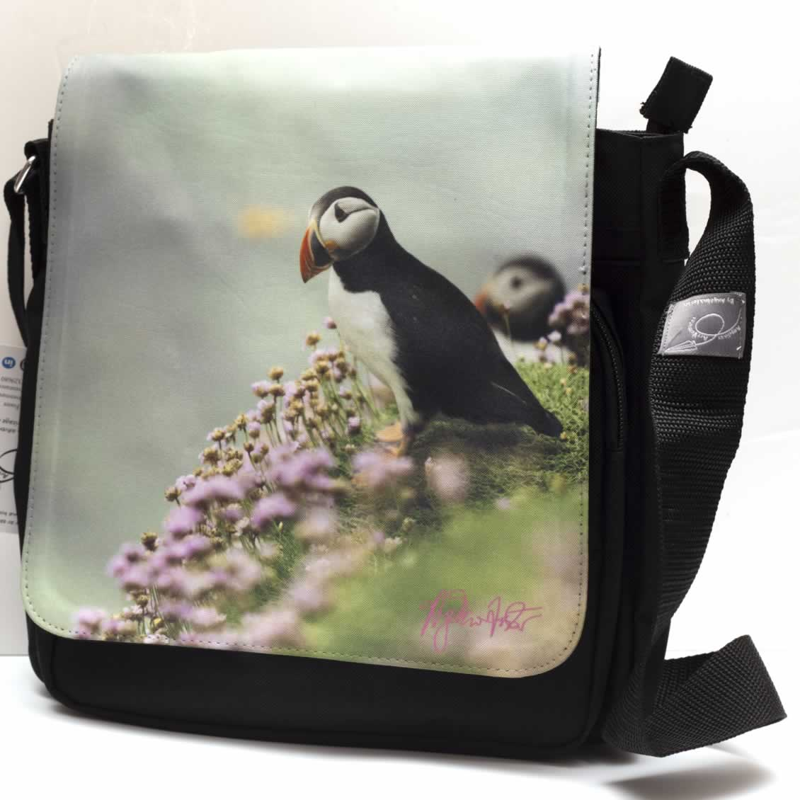 Black puffin messenger bag
