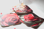 valentine or wedding red rose coasters