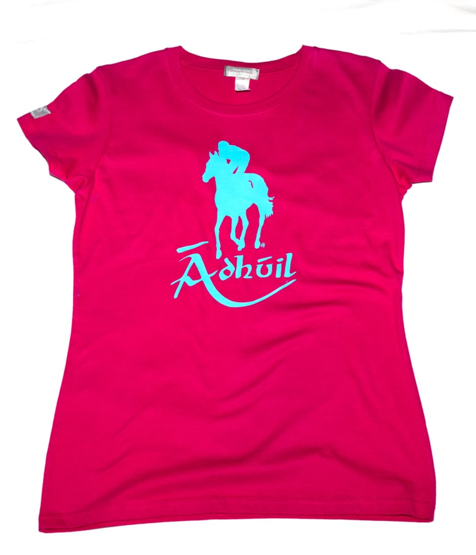 Pink Irish language lucky horse t-shirt