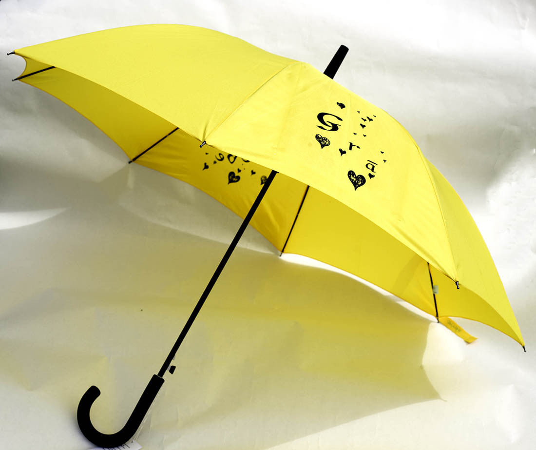 Yellow Irish love umbrella wedding umbrella in Irish language