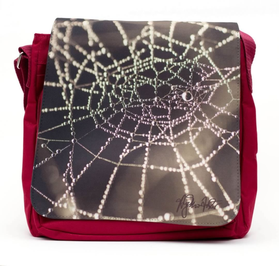red spiderweb messenger bag