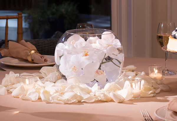 Complete Centerpiece Kit w/ Bowl, Flowers, Lights, Rocks & Candles