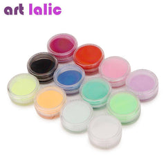 12 Solid Deep Color Nail Art Powder