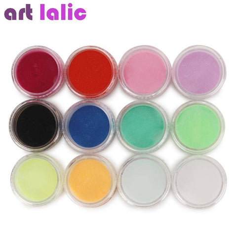12 Solid Deep Color Nail Art Powder - TRENDY DEALS