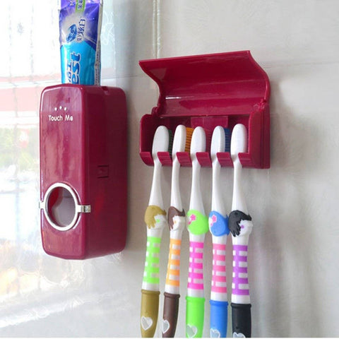 Toothbrush Wall Mount & Toothpaste Dispenser