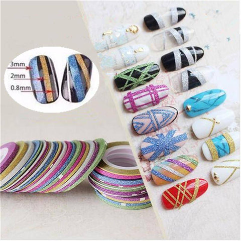 Image of 10 Rolls Nail Tape Line Sticker   1MM 2MM 3MM - TRENDY DEALS