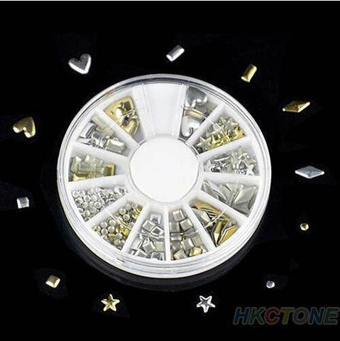 Image of 120 pcs 3D shiny metallic luster Nail decoration wheel round - TRENDY DEALS