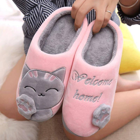 Image of Cute Cozy Cat Paw Slippers