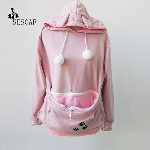 Image of Cat Lovers Hoodie With Cuddle Pouch