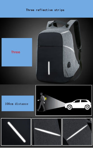 "Image of Anti-Theft Backback with USB charging for 15"" Laptops"