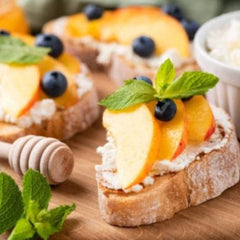 Blueberry Peach Basil Crostini