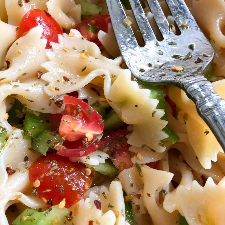 Champagne and Spicy Italian Blend Pasta Salad | The Little Shop of Olive Oils