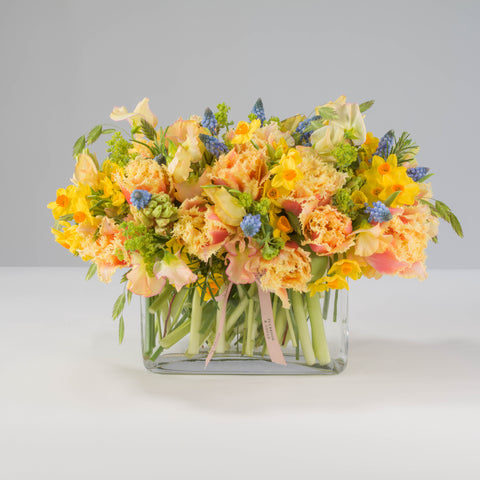 Vibrant Spring Arrangement including Glass Trough |  2021 Collection