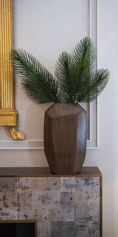 Faux pine in bronzed ceramic container