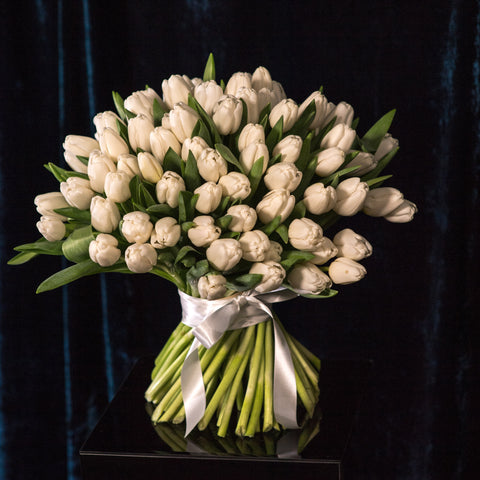 Hand-tied White Tulips