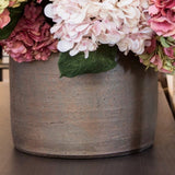 Silk Hydrangea Arrangement In Earthenware Vessel