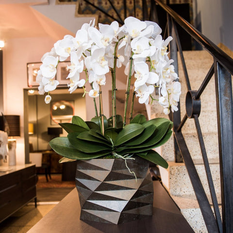 Silk Orchid Arrangement In Offset Octaganol Container