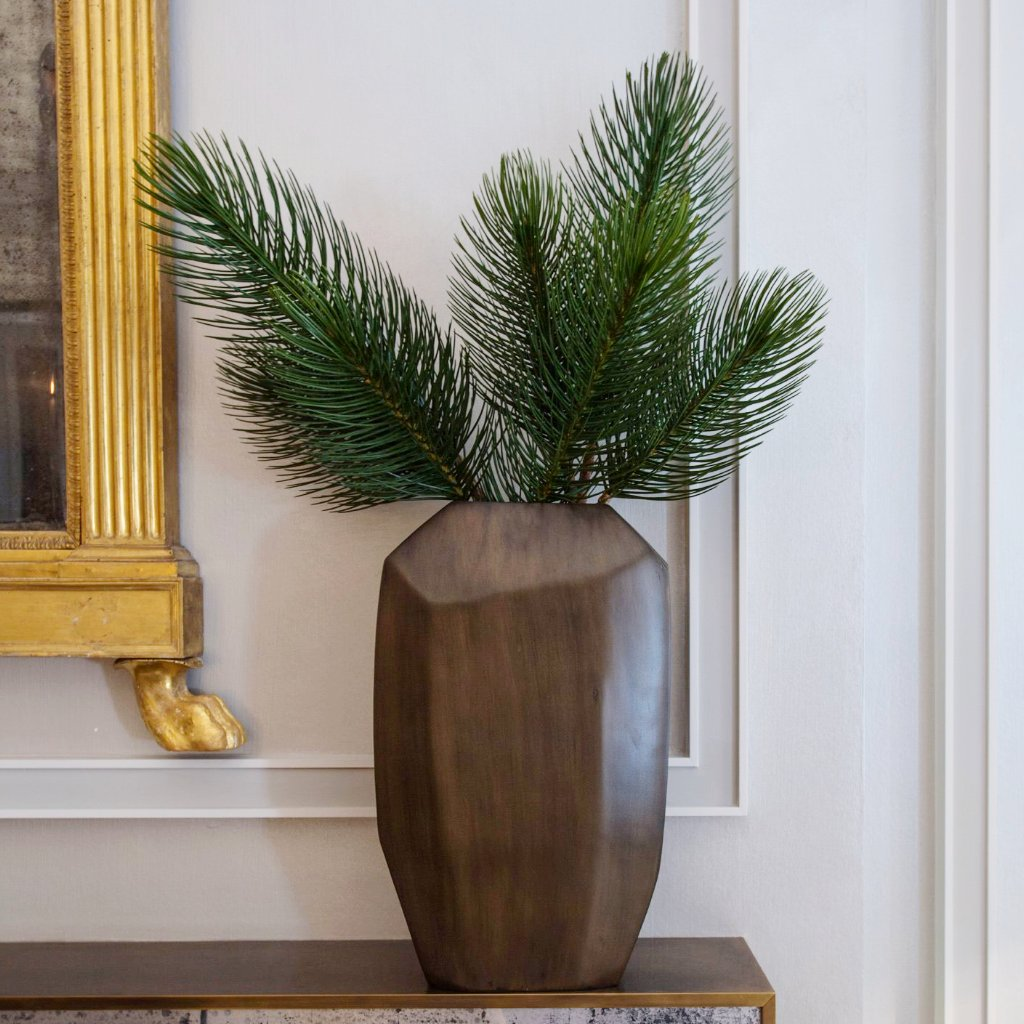 Multifaceted Brass Effect Finish Vase With Faux Scots Pine