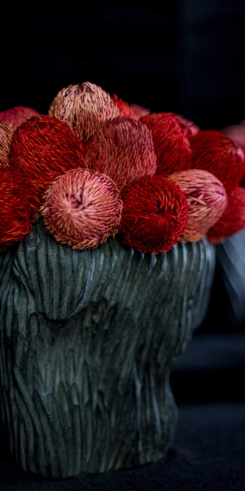 Dried protea arrangement in hand-carved wooden vessel