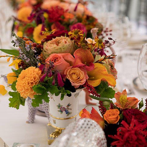 Mixed dahlia dinner table arrangement