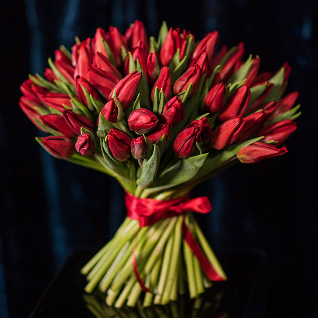 Hand-tied Red Tulips
