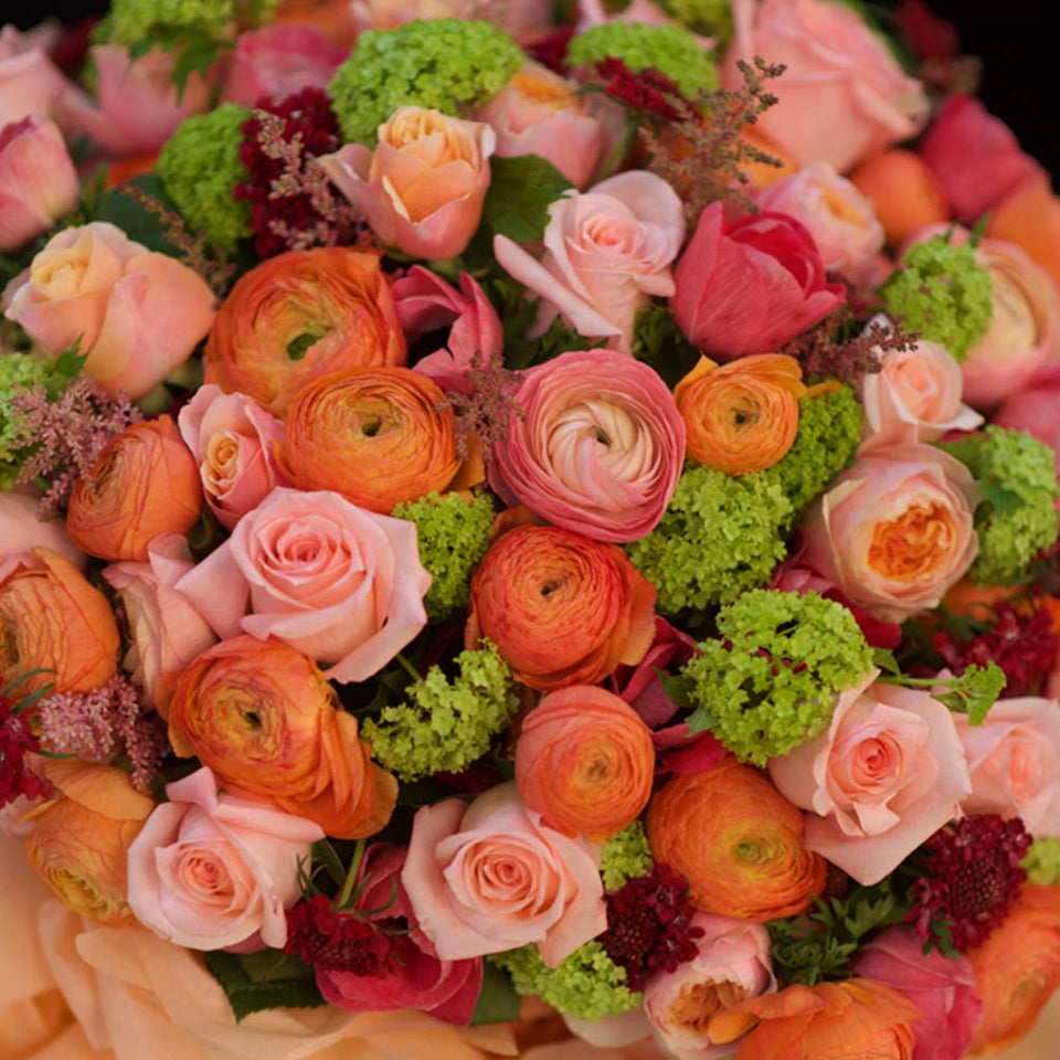 Lavish vibrant bouquet of roses & ranunculus in presentation gift