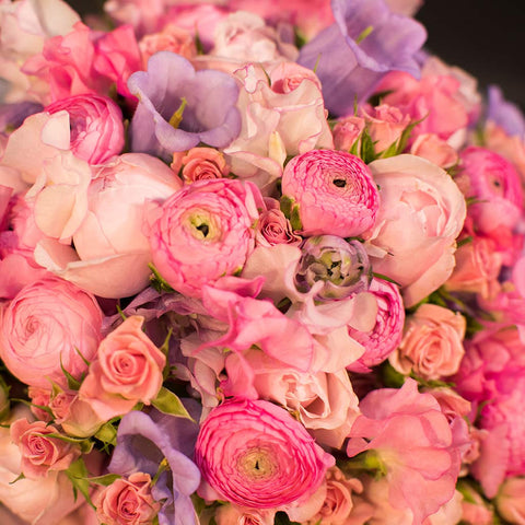 Pretty pink extra-large bespoke bouquet of peonies, spray roses & ranunculus in presentation gift box