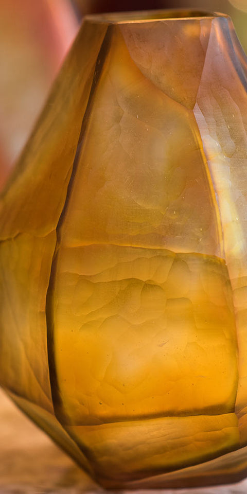 Handblown amber glass vase