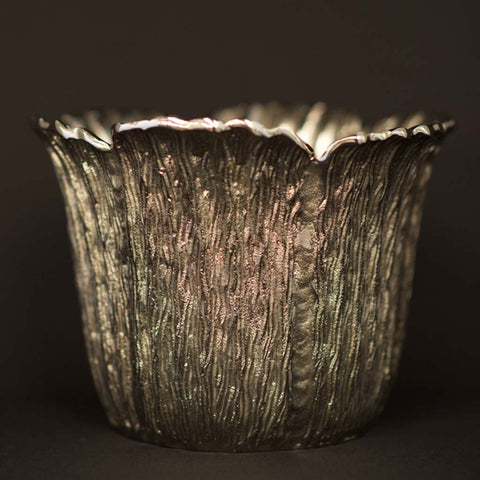 Silver plated metal leaf shaped container