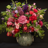 480x480**center**Luxurious composition of English country garden blooms in ceramic antique container**enquire