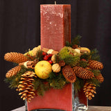 480x480**center**Bespoke red candle arrangement with pines, cones and crystalised apples**enquire