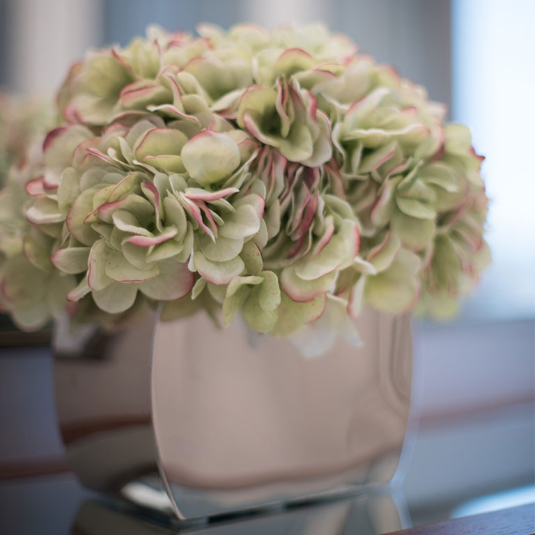 Arrangement of pale green silk hydrangea
