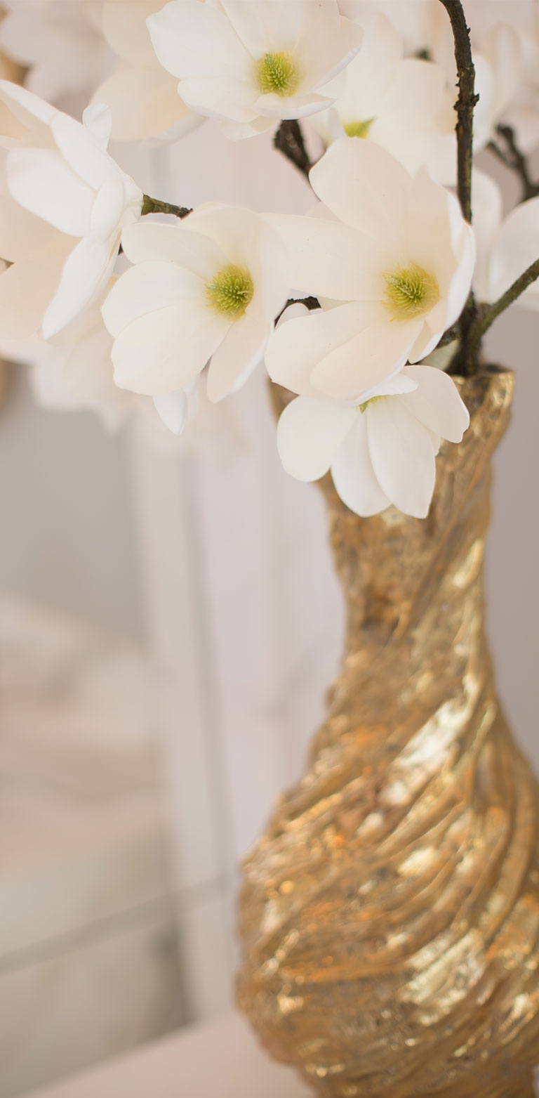 Silk magnolias in gilt vase