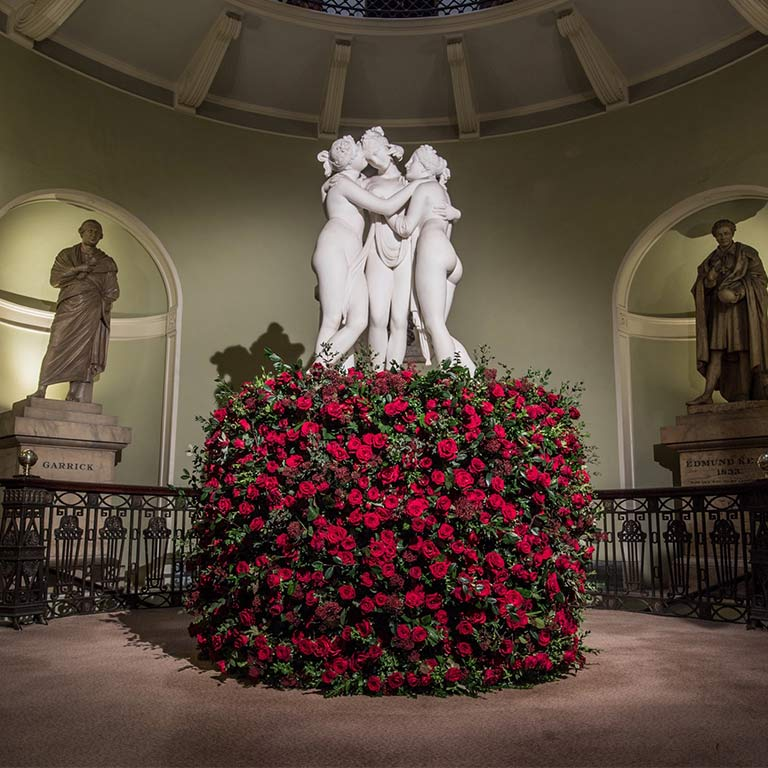 Three graces amongst red roses