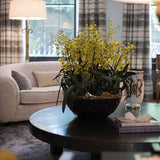 960x960**center** Silk yellow oncidium orchid in black matte ceramic container with gilt rim**enquire