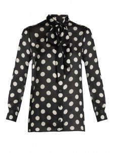 Matches Fashion-GUCCI -Polka-dot print silk-georgette blouse