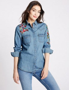 M&S Collection- New Pure Cotton Embroidered Denim Shirt