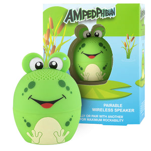 My Audio Pet AMPEDphibian Wireless Bluetooth Speaker with True Wireless Stereo Frog with reeds, water lily pads and pond box