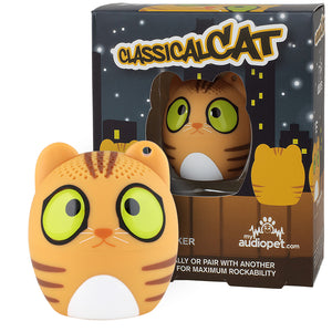 My Audio Pet Classical Cat Wireless Bluetooth Speaker with True Wireless Stereo Cat with midnight city scape box