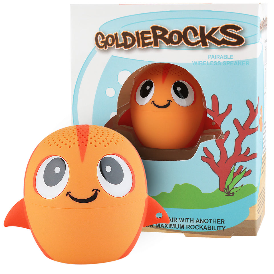 My Audio Pet GoldieRocks Wireless Bluetooth Speaker with True Wireless Stereo Goldfish with a goldfish bowl box