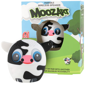 My Audio Pet Moozart Wireless Bluetooth Speaker with True Wireless Stereo Holstein Cow with a countryside, green meadows and red barn box